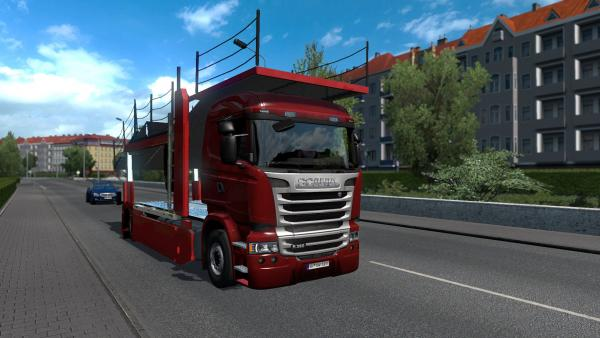 Scania Streamline car transporter mod with trailer for ETS 2